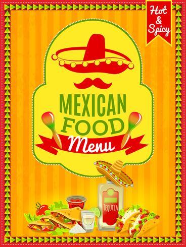Affiche du menu de la cuisine mexicaine vecteur