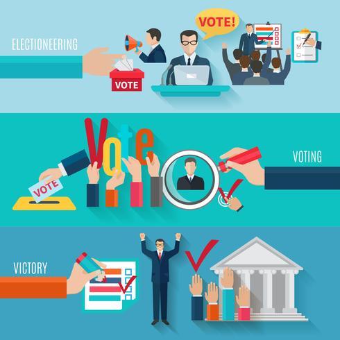 Ensemble de bannières d'élection vecteur