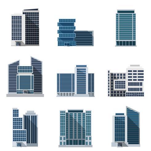 Ensemble d'immeubles de bureaux vecteur