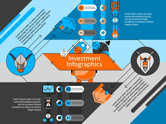 Jeu d'infographie de ligne d'investissement vecteur