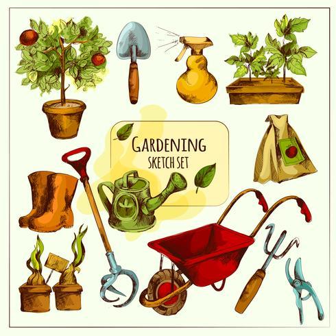 Ensemble de croquis de jardinage de couleur vecteur