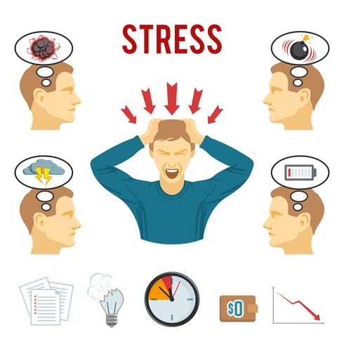 Ensemble d'icônes trouble mental et stress vecteur