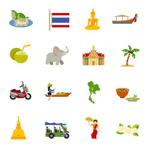 Thaïlande Icons Set vecteur