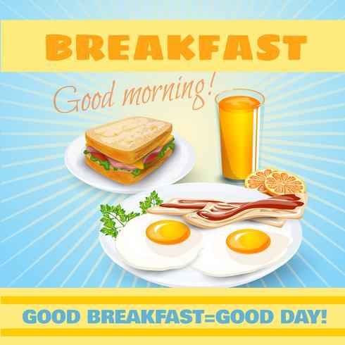 Affiche classique petit déjeuner vecteur