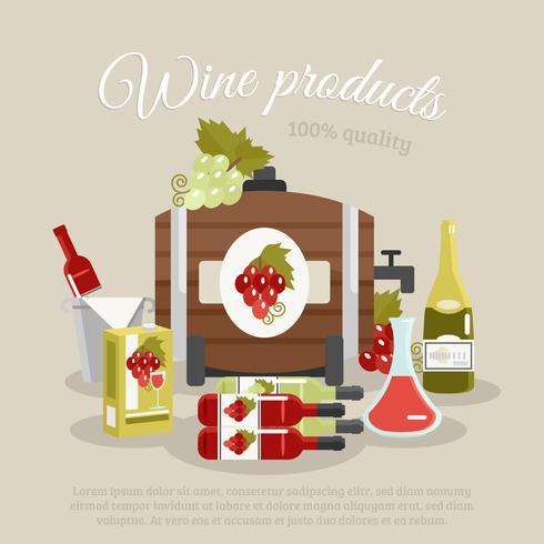 Affiche de la vie de plat de produits de vin vecteur