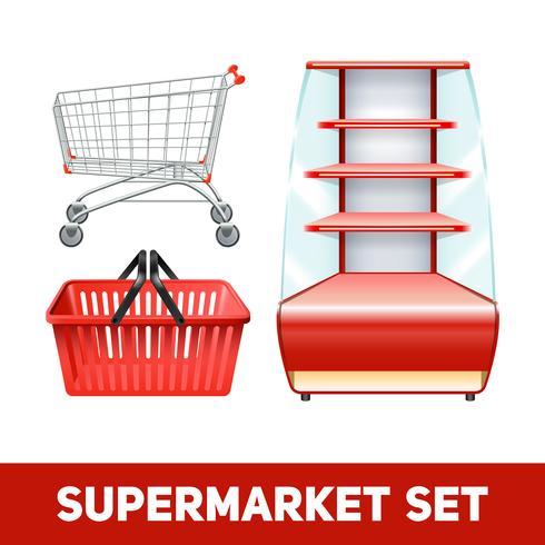 Ensemble réaliste de supermarché vecteur