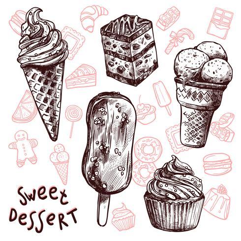 Ensemble de croquis de crème glacée et gâteaux vecteur