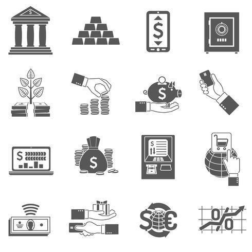 ensemble d'icônes bancaires noir vecteur