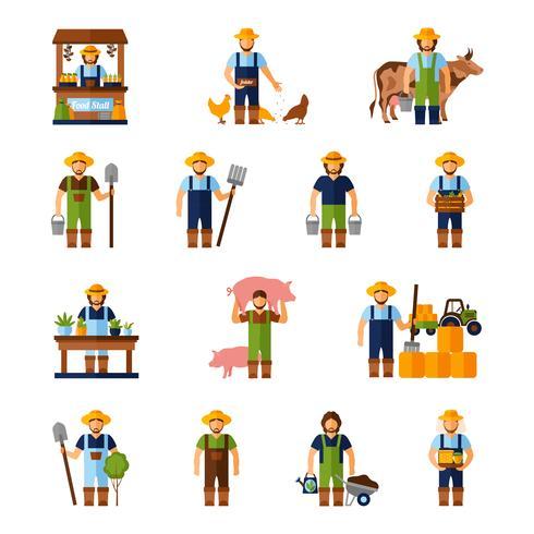 jeu d'icônes des agriculteurs vecteur