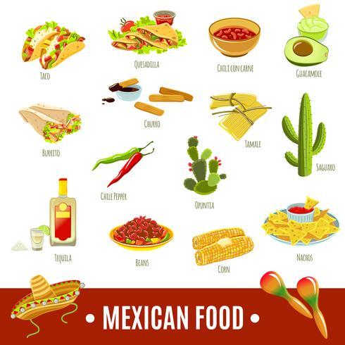 Jeu d'icônes de la cuisine mexicaine vecteur
