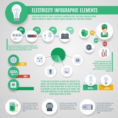 Électricité Infographie Set vecteur
