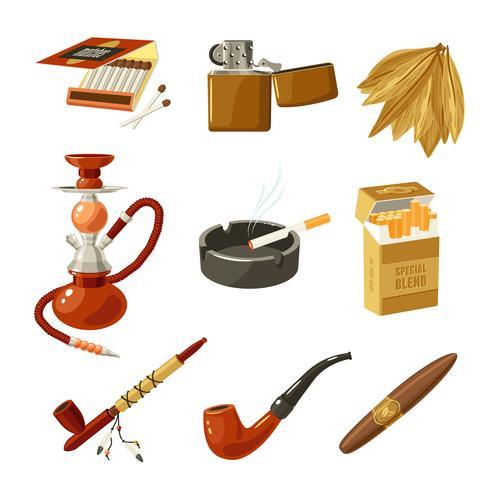 Tabac Icons Set vecteur