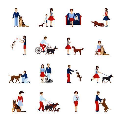 Ensemble de personnes avec chiens vecteur