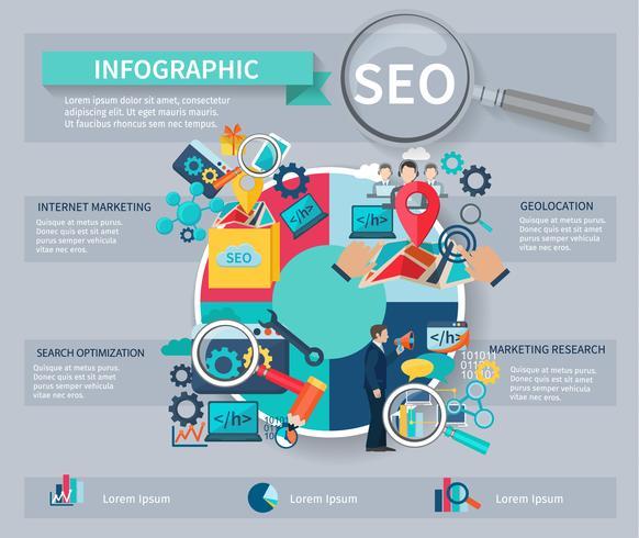 Infographie de marketing de référencement vecteur