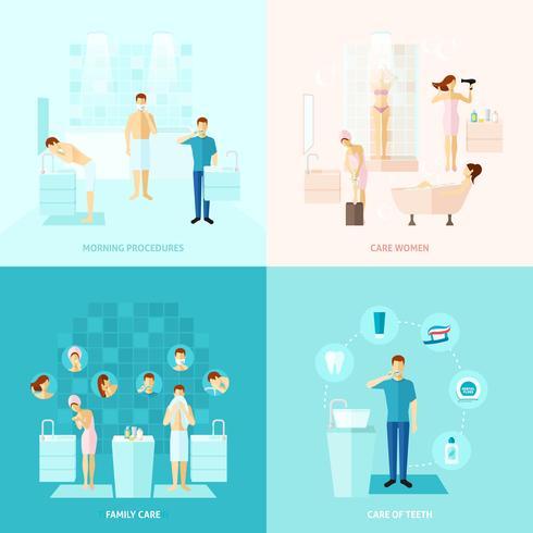 Ensemble d'icônes de soins personnels et familiaux vecteur