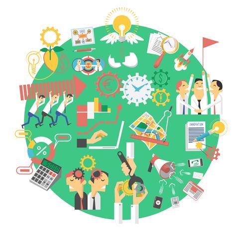 Icône de concept global entreprise verte vecteur
