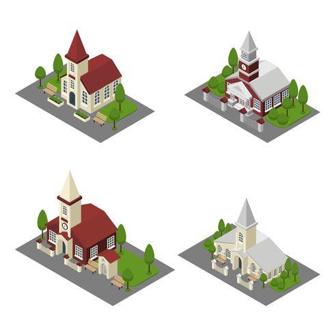 Église isométrique vecteur