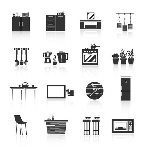 Set d'icônes de meubles de cuisine vecteur