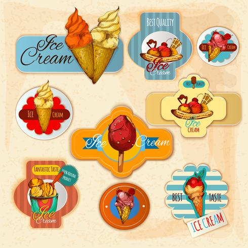 Étiquettes de crème glacée vecteur