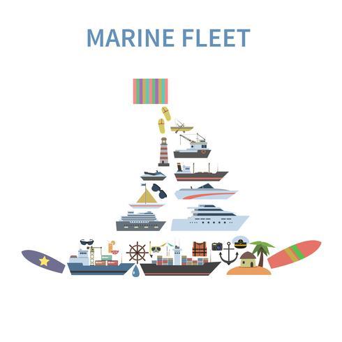 navire concept plat vecteur