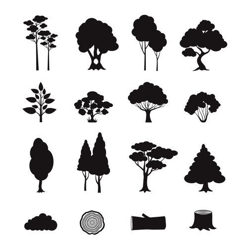 Éléments forestiers noir vecteur