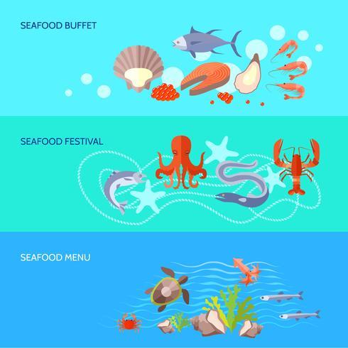 Jeu de bannière de fruits de mer vecteur