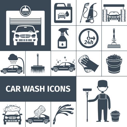 Icônes de service de lavage de voiture mis en noir vecteur