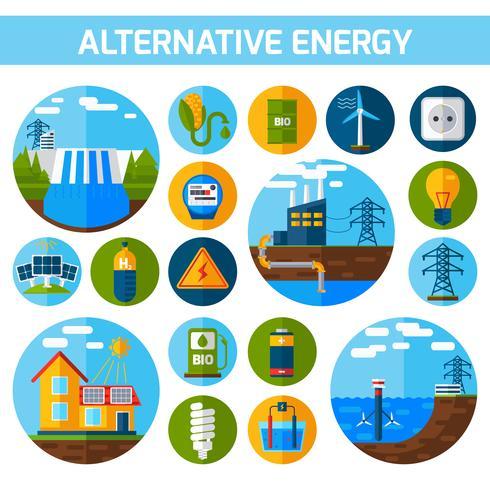 Jeu d'icônes d'énergie alternative vecteur