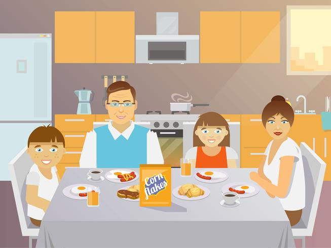 Appartement petit déjeuner en famille vecteur