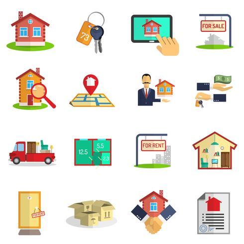Ensemble d'icônes immobilier vecteur