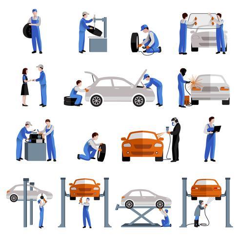 Mécanicien Icons Set vecteur