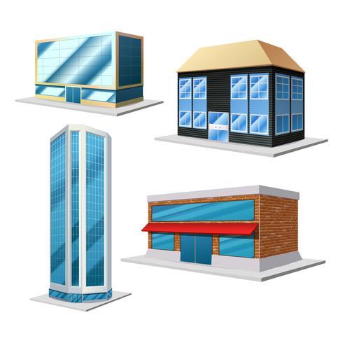 Ensemble décoratif de bâtiment vecteur