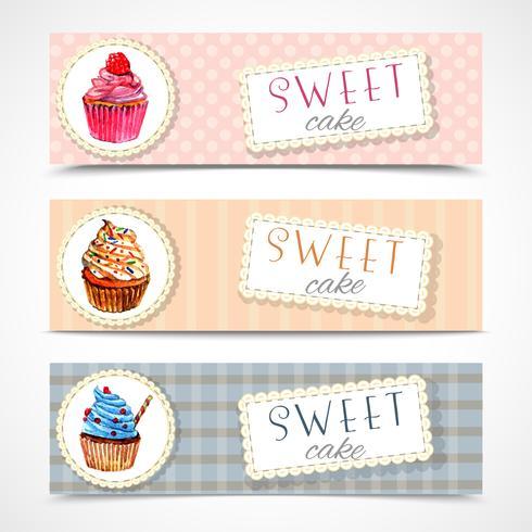Ensemble de bannières Sweetshop cupcakes vecteur