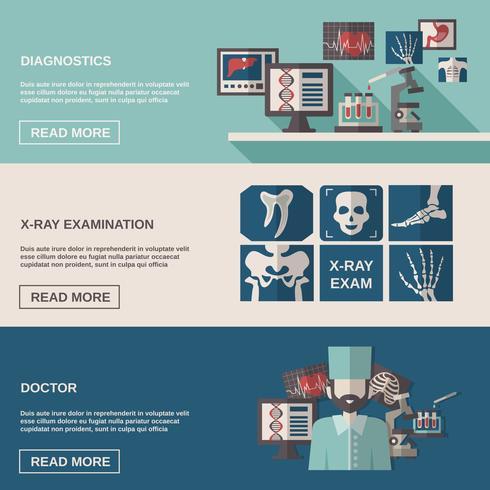 Ensemble de bannières pour ultrasons et rayons X vecteur
