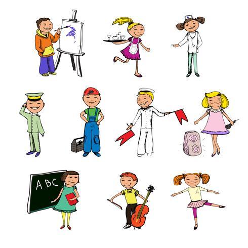 Personnages de métiers d'enfants vecteur