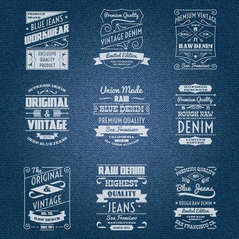 Denim jeans étiquettes blanches de typographie vecteur