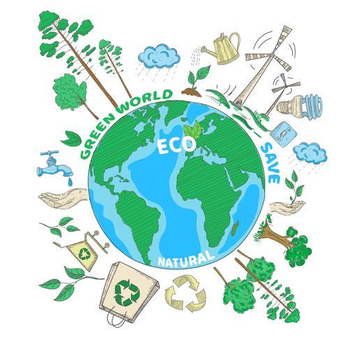 Concept d'écologie Doodle vecteur