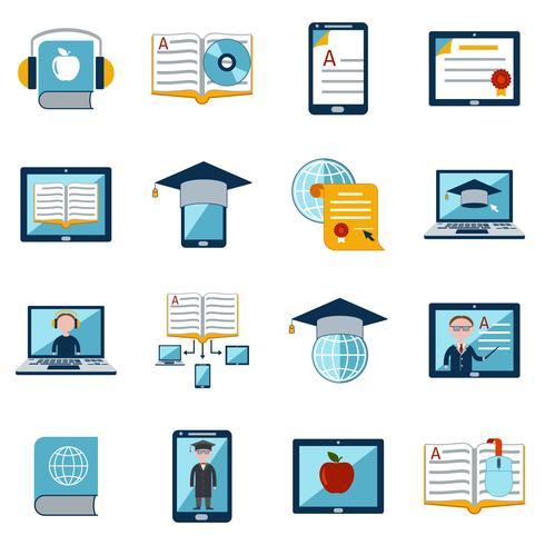 e-learning icons set vecteur
