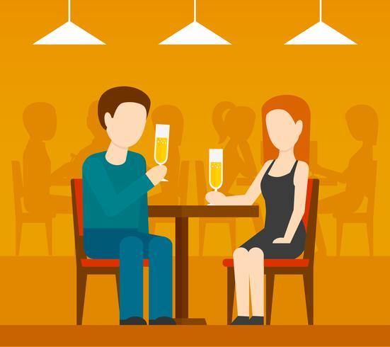Date au restaurant vecteur
