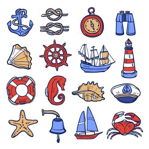 Jeu d'icônes nautiques vecteur