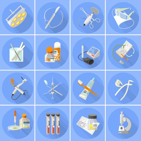 Icônes de médecine mis à plat vecteur