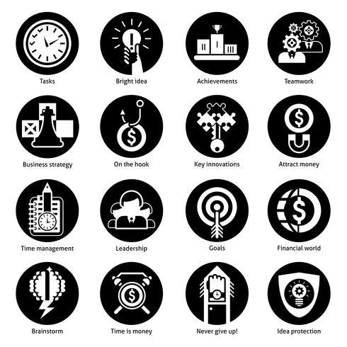 icônes de concept d'affaires noir vecteur