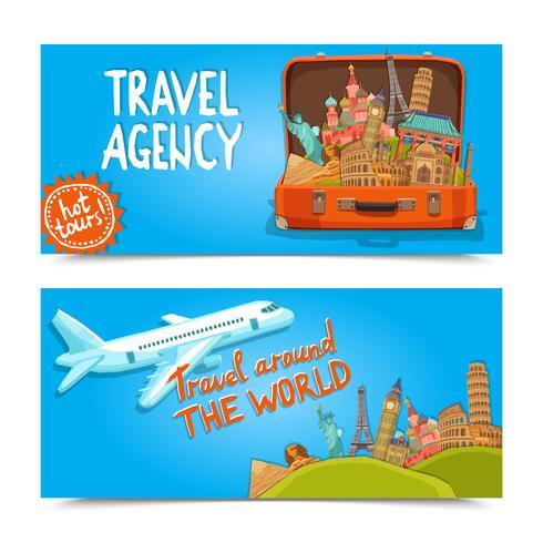 Bannières horizontales de l'agence de voyages autour du monde vecteur