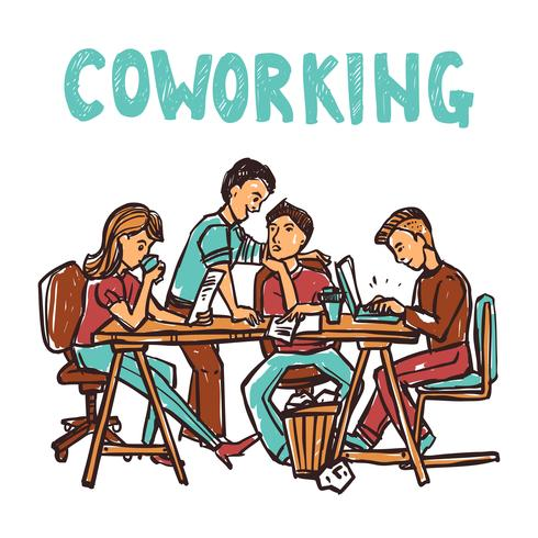 Illustration de croquis de coworking vecteur