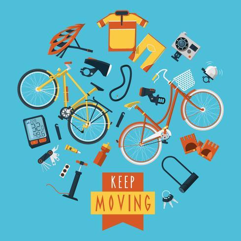 Cyclisme concept pictogrammes composition cercle imprimé vecteur