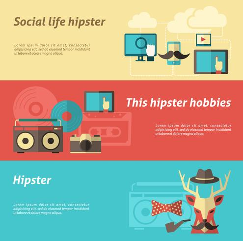 Ensemble de bannière hipster vecteur