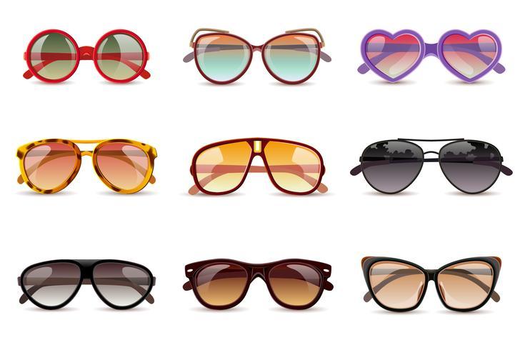 Ensemble réaliste de lunettes de soleil vecteur