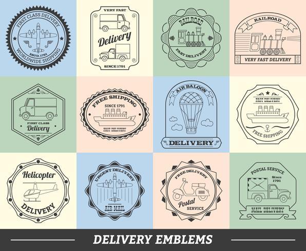 Set d'emblèmes de livraison vecteur