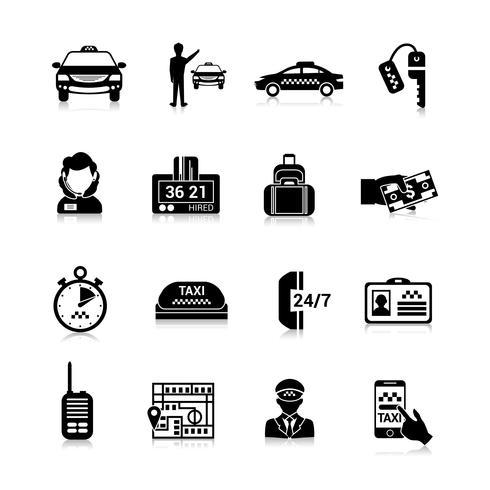 Icônes de taxi noir vecteur