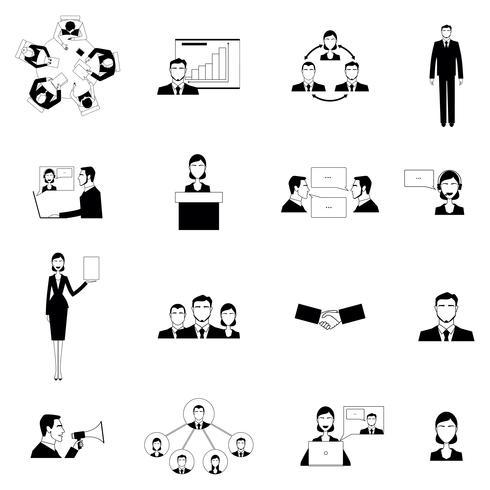 Ensemble d'icônes plat de réunion d'affaires vecteur